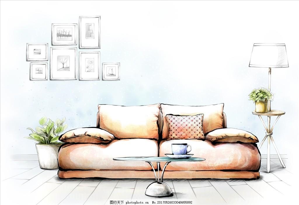 手绘室内装饰 沙发 茶几 花画 台灯 桌子 杯子