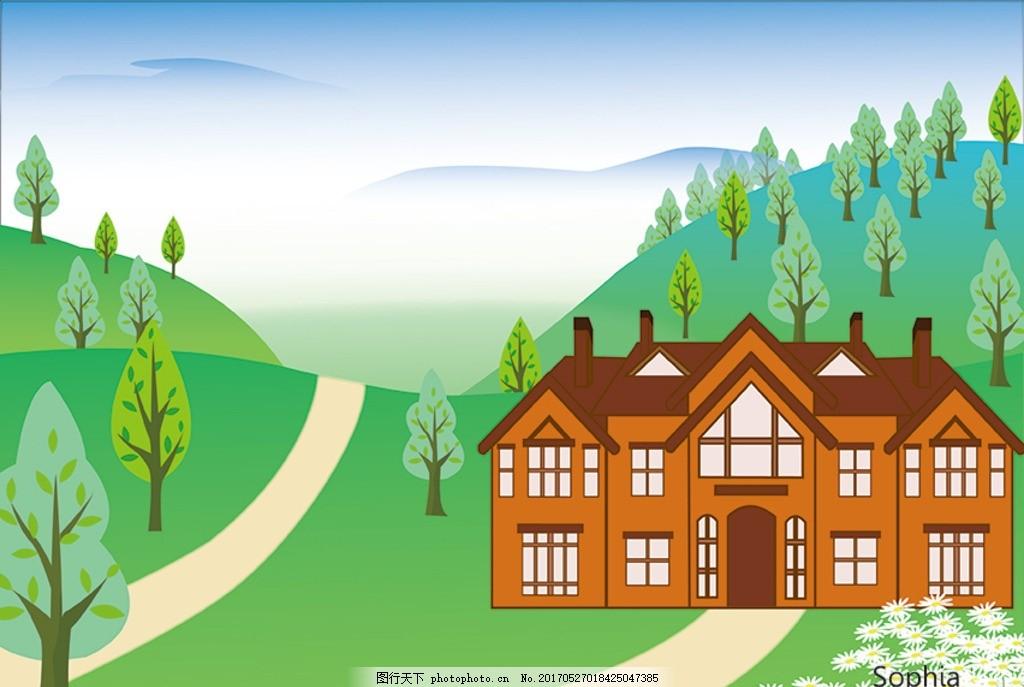 房子 别墅 风景画 小清新 森林 矢量图 动漫动画