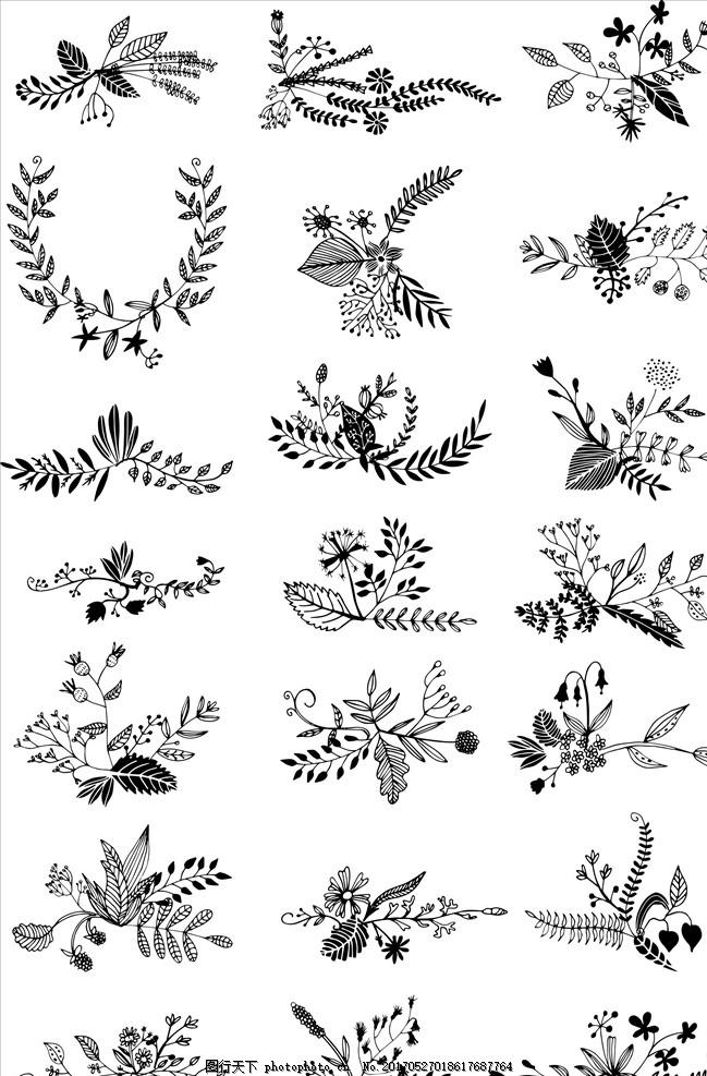 花草植物素描画 花环 填色 秘密花园 叶子 树叶 叶片 花朵 花苞