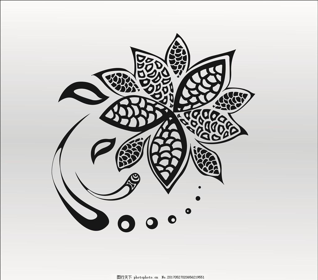 黑白植物图案 植物抽象图案 黑白抽象图案 黑白花卉图案