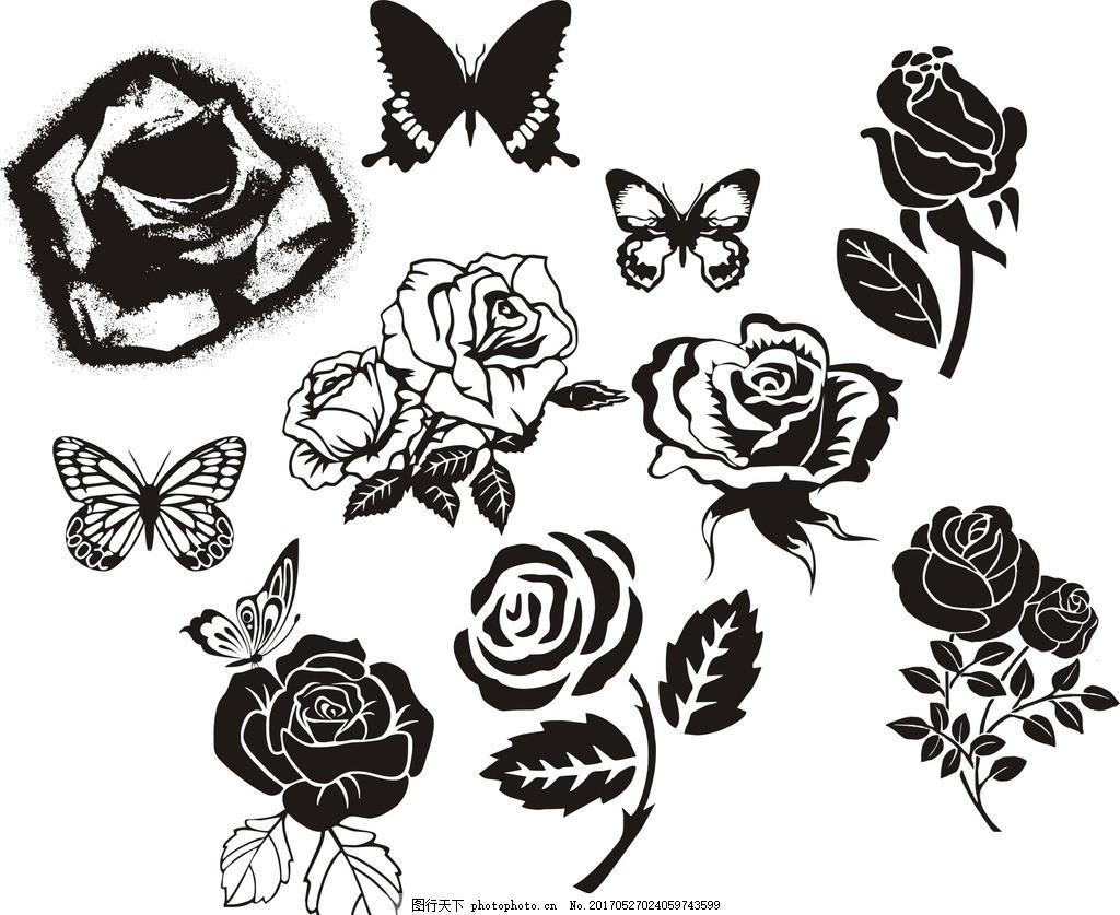 素材 矢量图 剪影 线描图 元素 设计 黑白 蝴蝶 玫瑰 花 动物 昆虫
