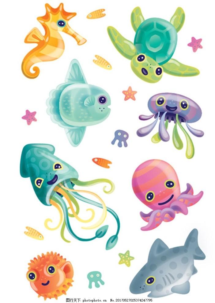 海注动物 卡通动物 可爱卡通 海底卡通 可爱动物 海底世界 卡通动物