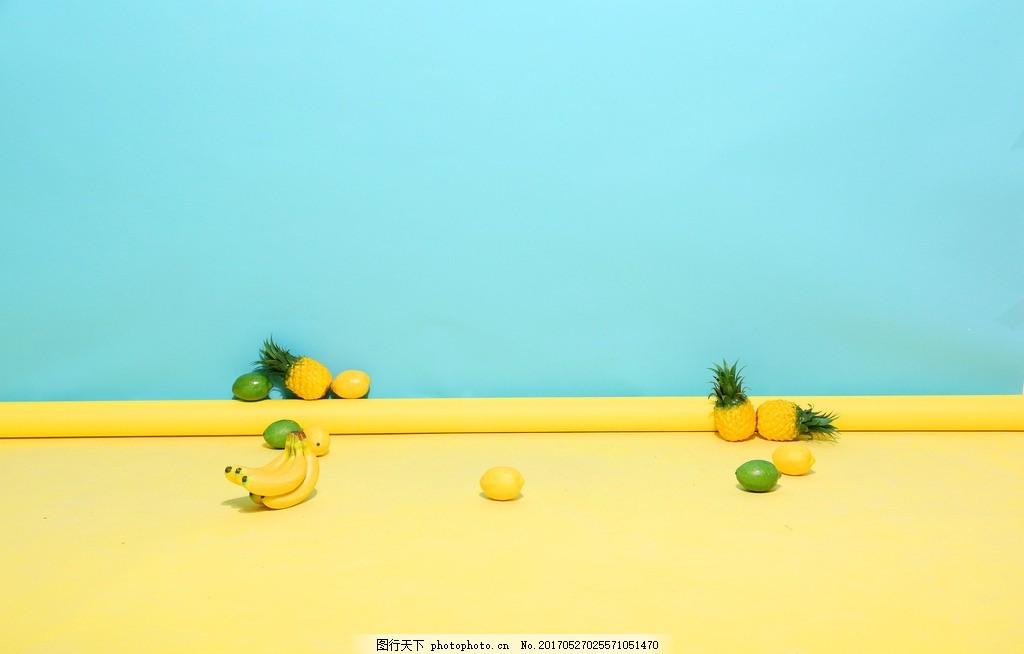 清新立体背景素材 水果 黄蓝 横版 摄影 生活素材图片