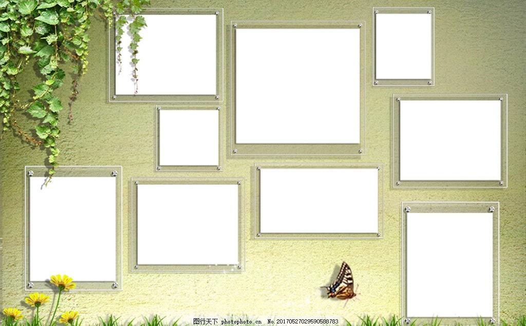 相框设计排版 相框素材 绿色背景 背景素材图片