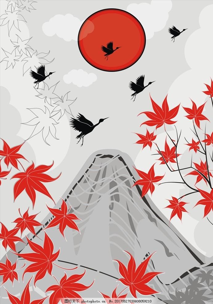 山峰 云彩 云朵 云图案 土坡 天空 手绘图案 仙鹤 鹤图案 和风 设计