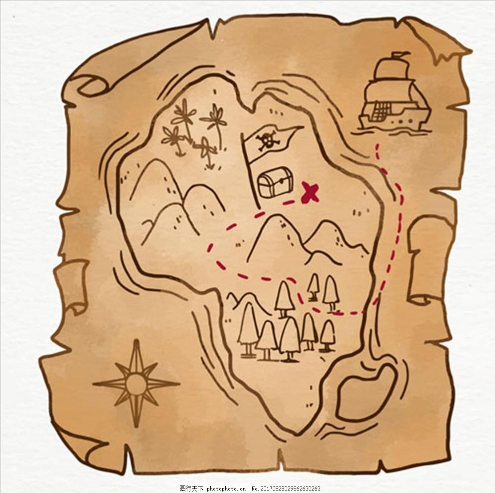 手绘风格海盗藏宝图 海盗船长 鹦鹉 骷髅 独眼龙 双刀 双剑 望远镜