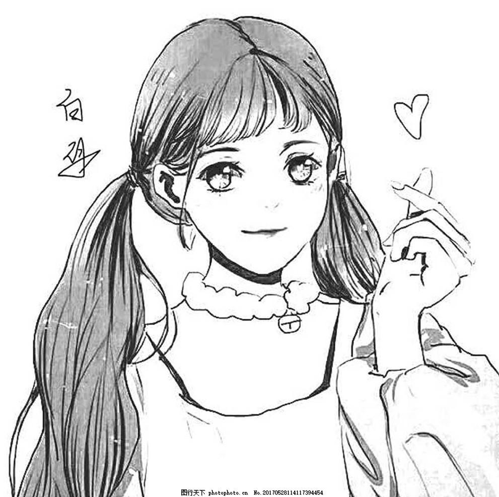 卡通少女 黑白 青春 美女 手绘 动漫动画 动漫人物