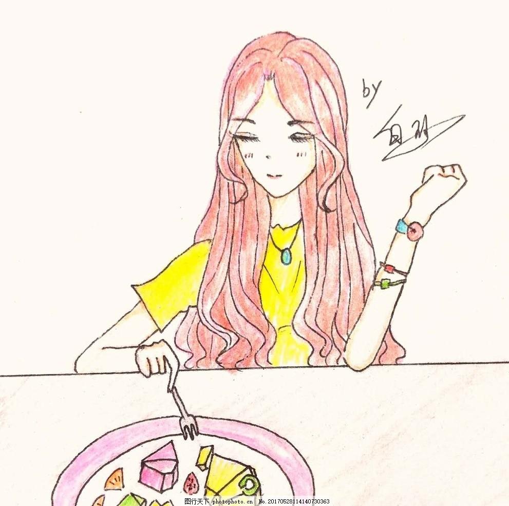 手绘美女 手绘 卡通 美女 吃西餐 红头发 设计 动漫动画 动漫人物 72