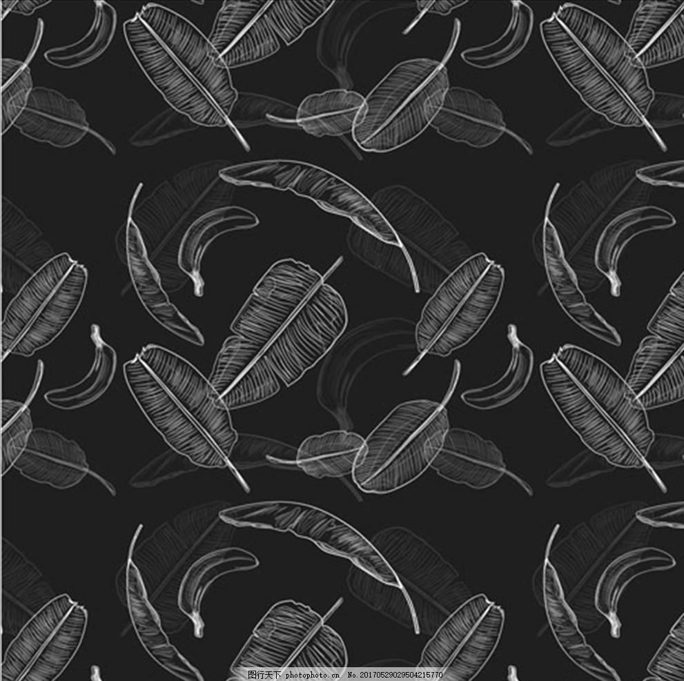 手绘夏日香蕉叶 夏天 鱼 海螺 鲨鱼 海豚 鲸鱼 珊瑚 海星 贝壳 雨林