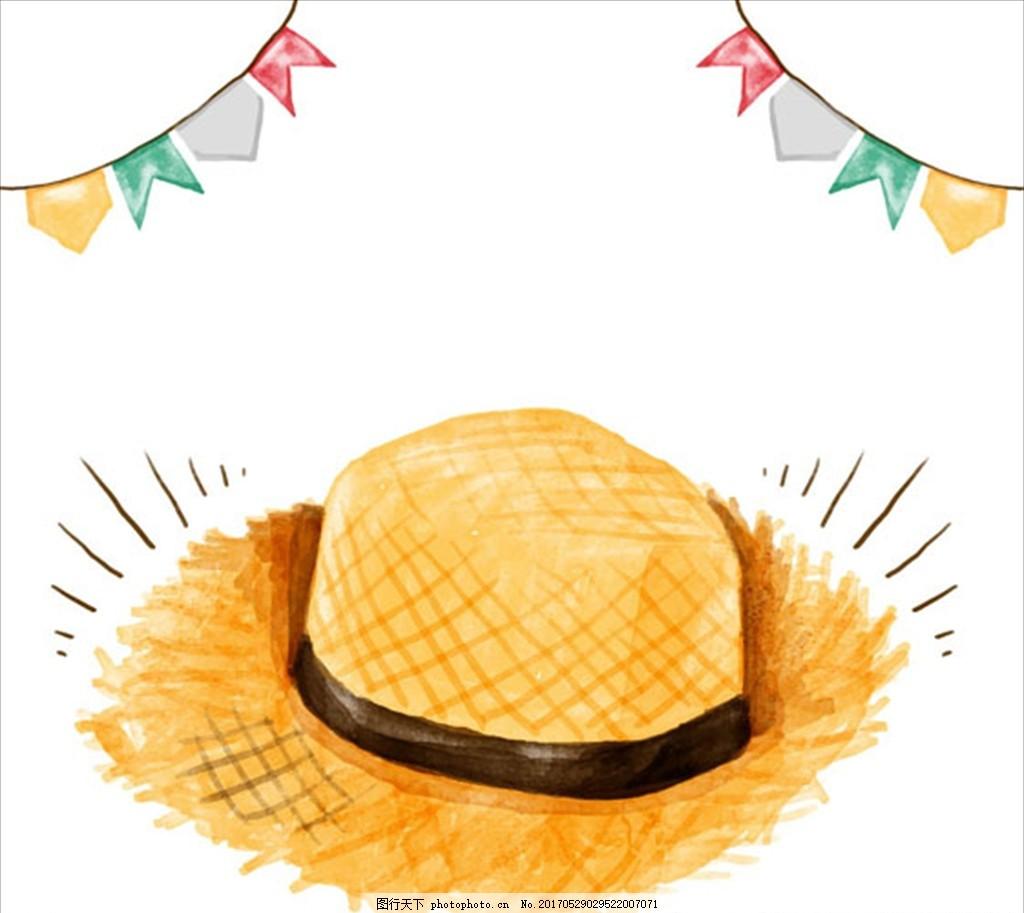 手绘水彩草帽