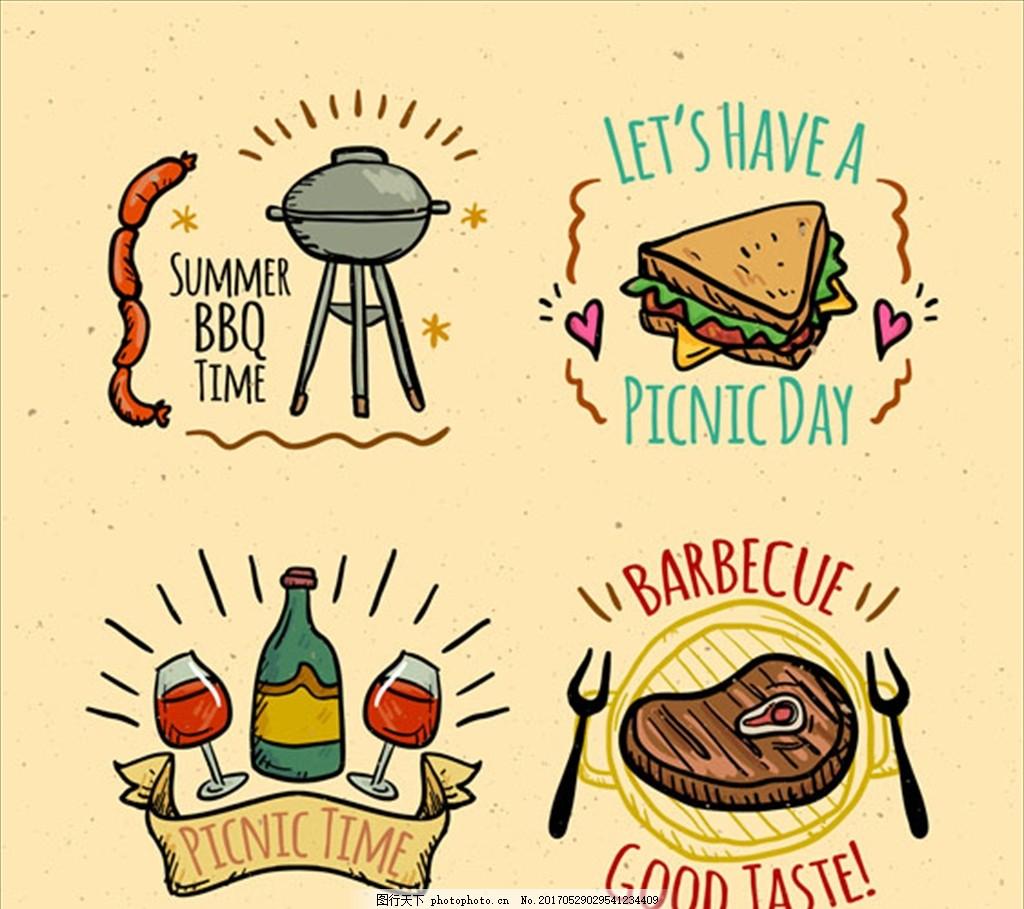 手绘烧烤和野餐标签