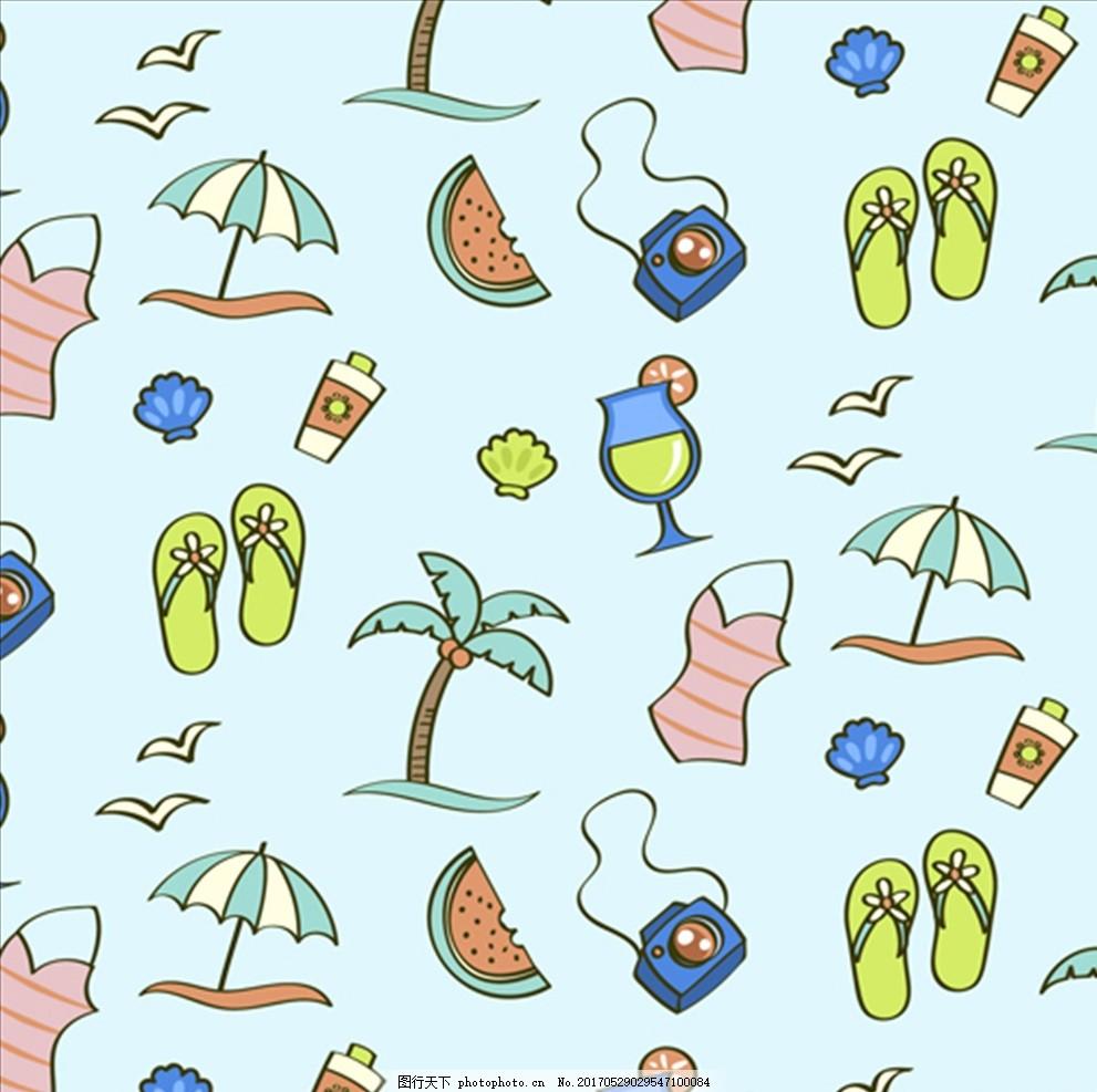 夏季元素图案背景 夏天 鱼 海螺 鲨鱼 海豚 鲸鱼 珊瑚 海星 贝壳 雨林
