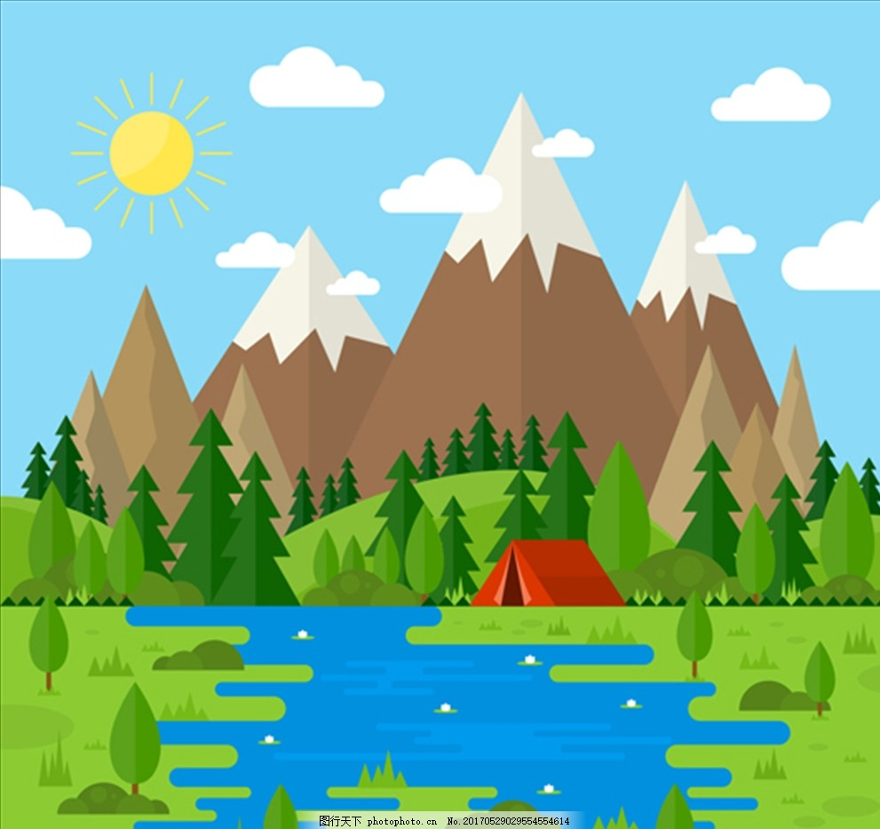 夏季美丽的风景插图