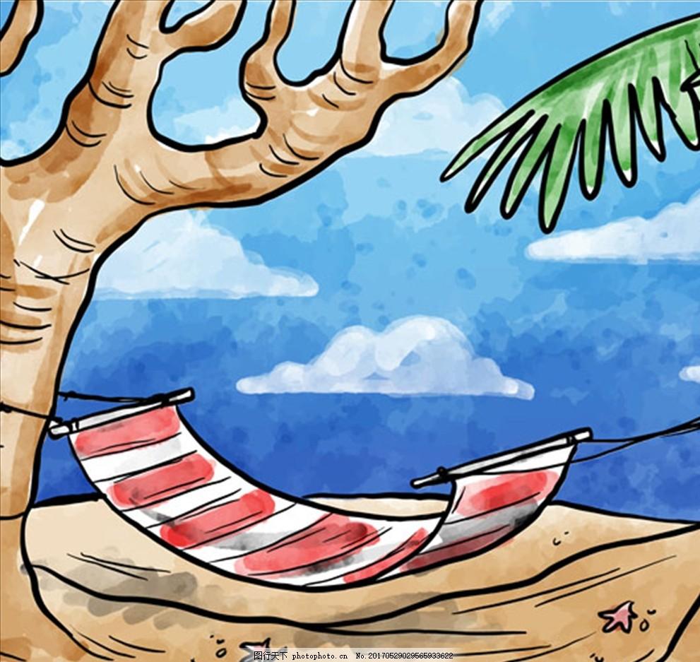 手绘水彩吊床在沙滩上