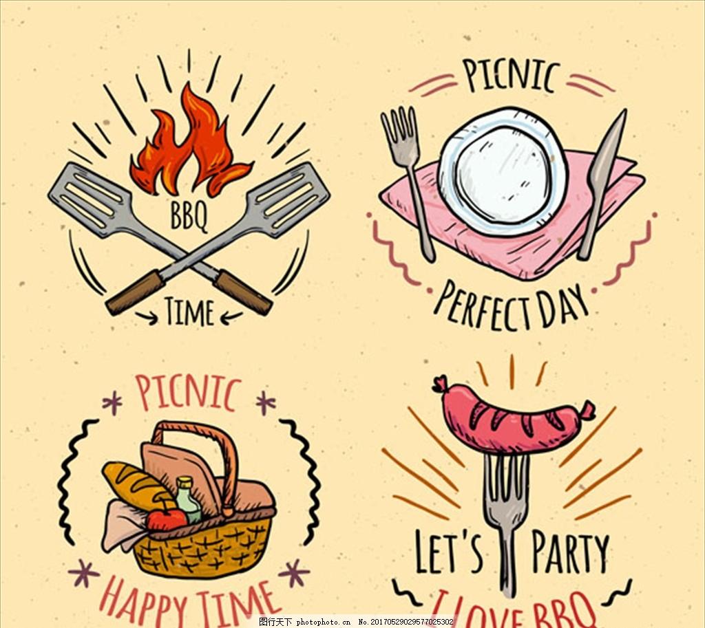 手绘烧烤和野餐徽章