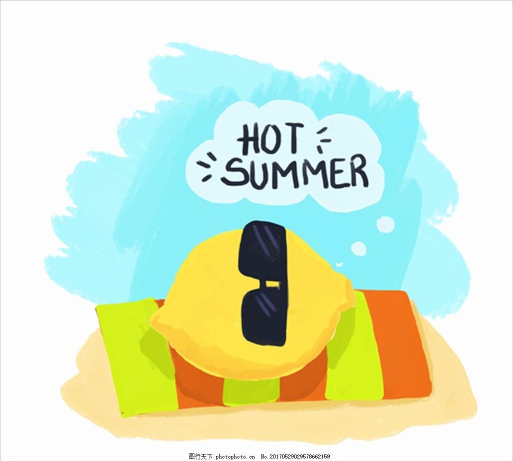 手绘戴墨镜晒阳光浴的柠檬 水果图片 水果 水果海报 水果店 水果超市