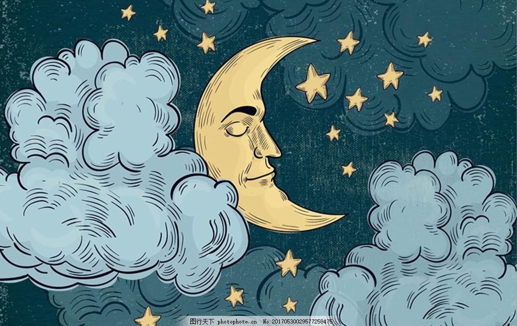 手绘躲在云彩里睡觉的月亮