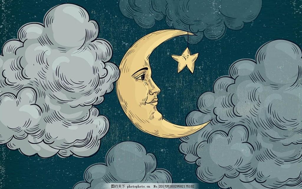 星星月亮 伊斯兰 图标 幼儿园 宝宝 婴儿 育婴 床单 儿童床单 简笔画