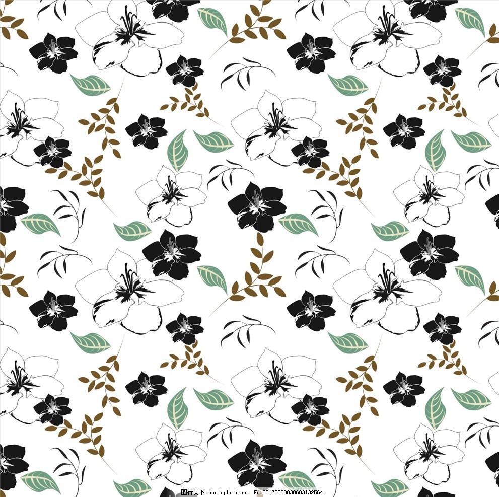 花草图案 布料印花 面料图案 植物花卉 花瓣 花纹底纹 树叶 一朵花