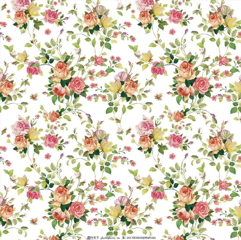 植物花卉底纹图案下载 小花 手绘花朵 花朵花卉 植物花朵 绿叶