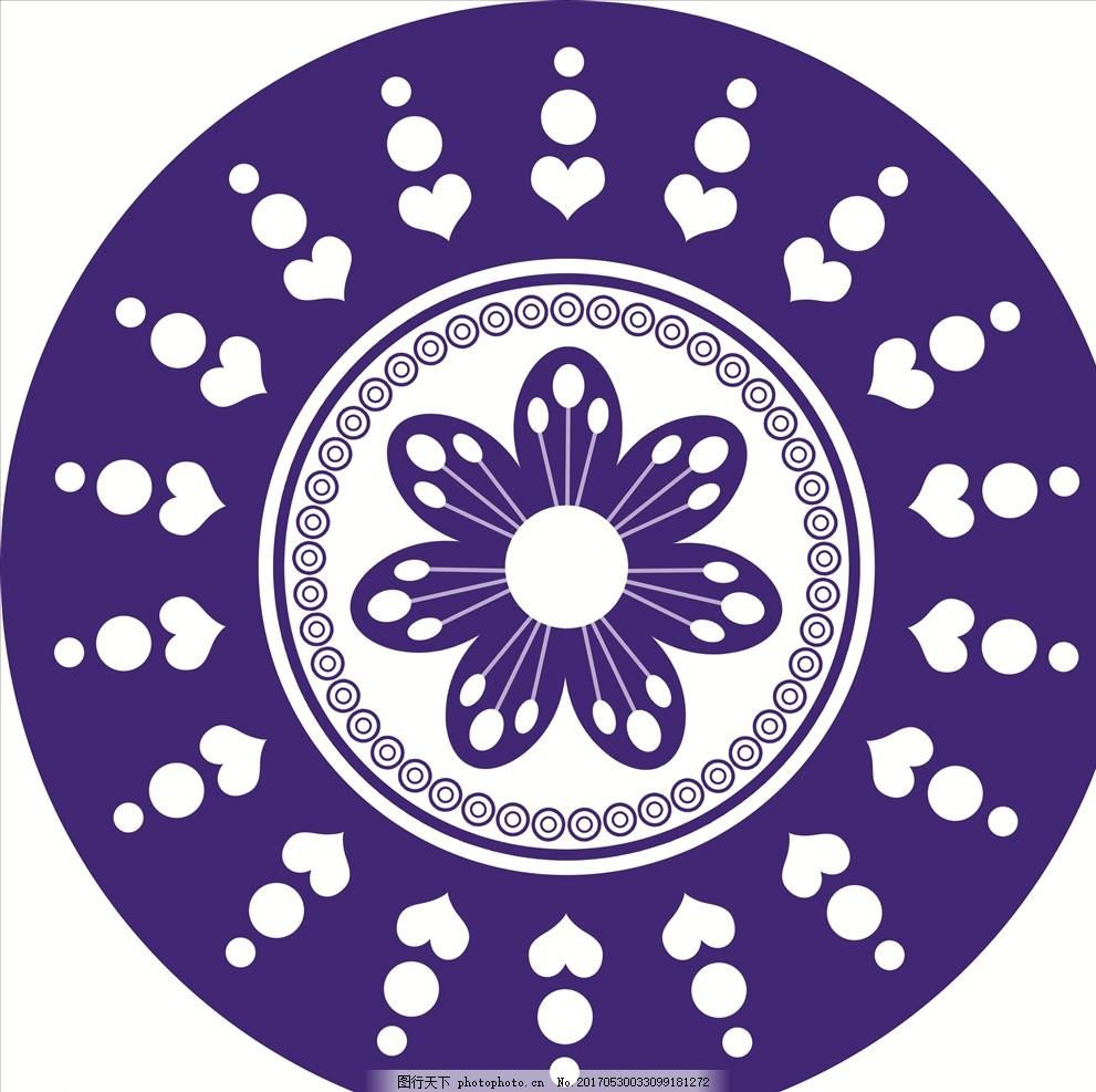 青花瓷图案 矢量素材 矢量青花瓷 圆形花纹 圆形 青花瓷盘 青花瓷圆盘