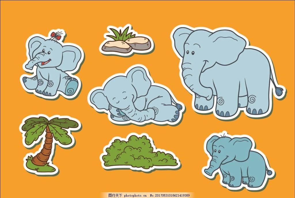 卡通动物贴纸 卡通动物 矢量素材 大象 可爱的大象 卡通大象 椰树