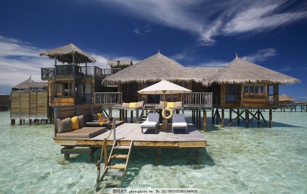 海岛度假 双鱼岛 水上屋 马尔代夫 棕榈 棕榈树 海边风景 风光