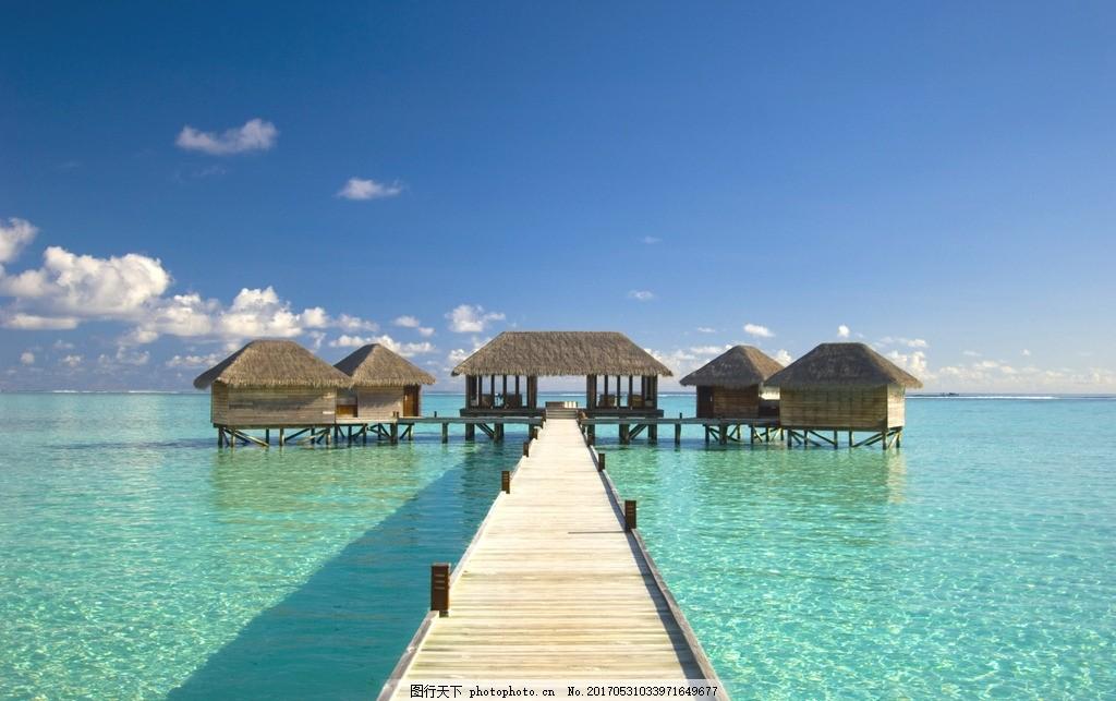 海岛木屋 双鱼岛 水上屋 马尔代夫 棕榈 棕榈树 海边风景 风光 椰树