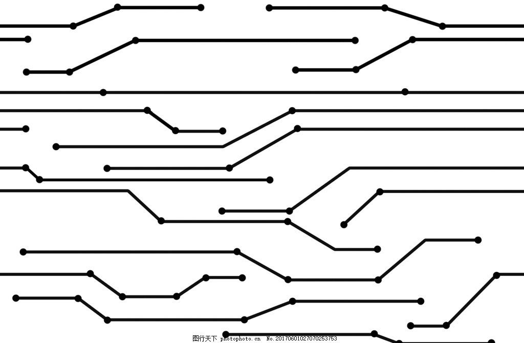 电路板线路 科技 黑白 点线 无线延伸