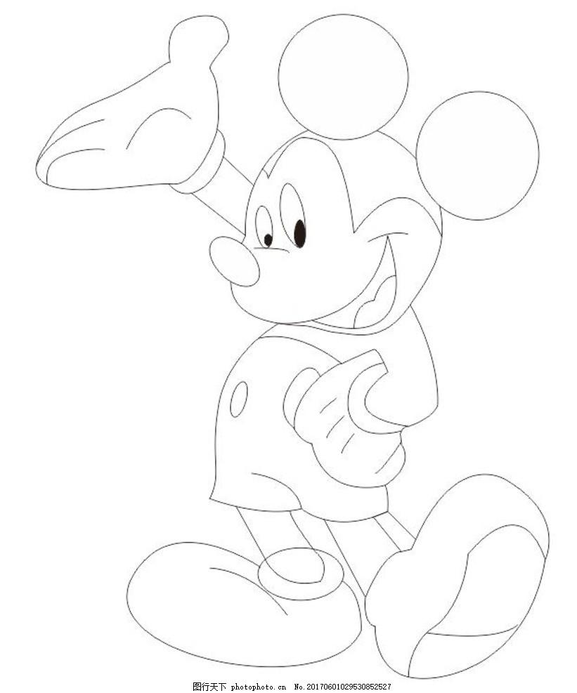 米老鼠 迪士尼 动漫 手绘 黑白