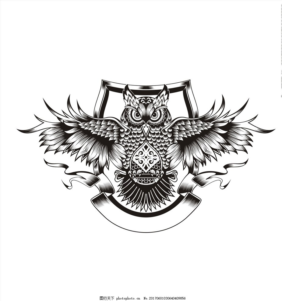 图腾 动物图腾 纹身图案 纹身大全 手绘猫头鹰 猫头鹰花纹 盾牌 横幅