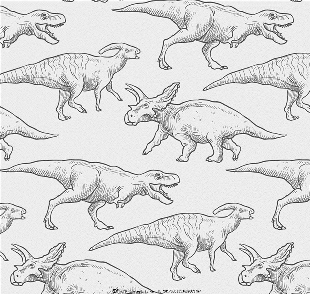 手绘恐龙无缝背景矢量素材