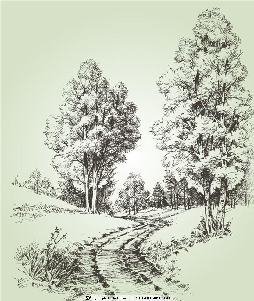 手绘画铅笔 风景_铅笔画秋天风景素描_手绘