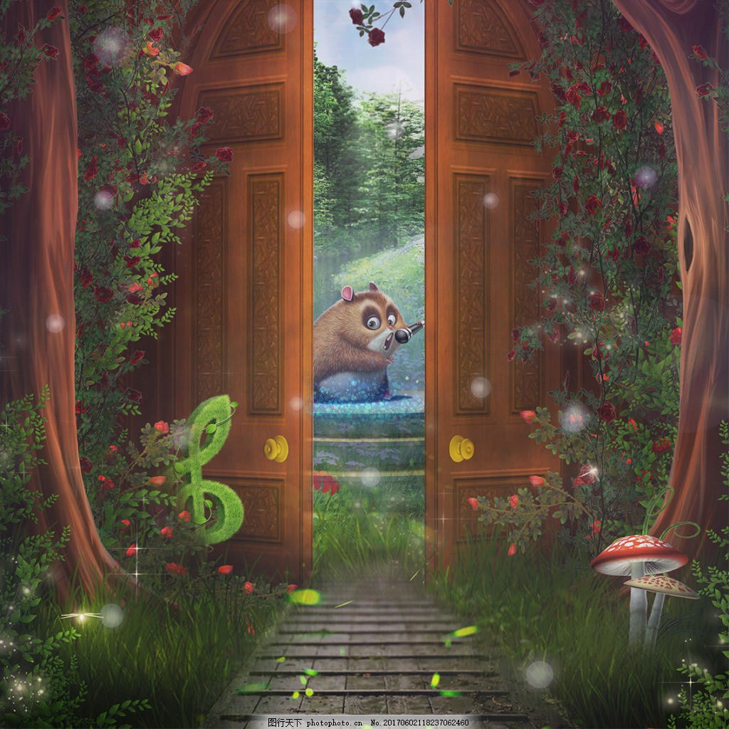 卡通梦幻背景 童话 绿色 动物