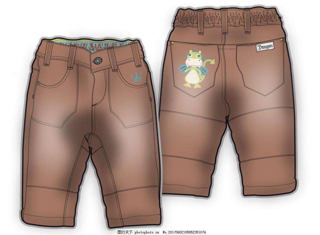 长裤婴儿服装彩色设计矢量素材