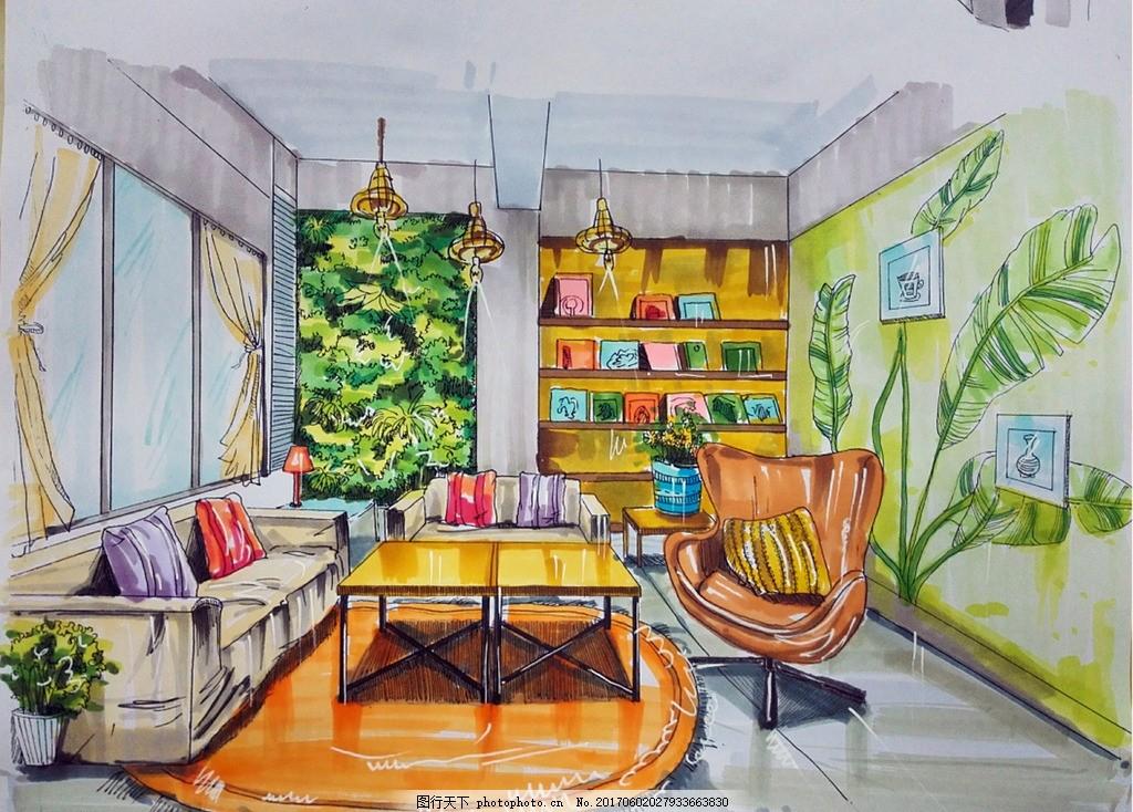 咖啡厅包间 咖啡厅 植物 包间 手绘 清新 设计 环境设计 室内设计 96