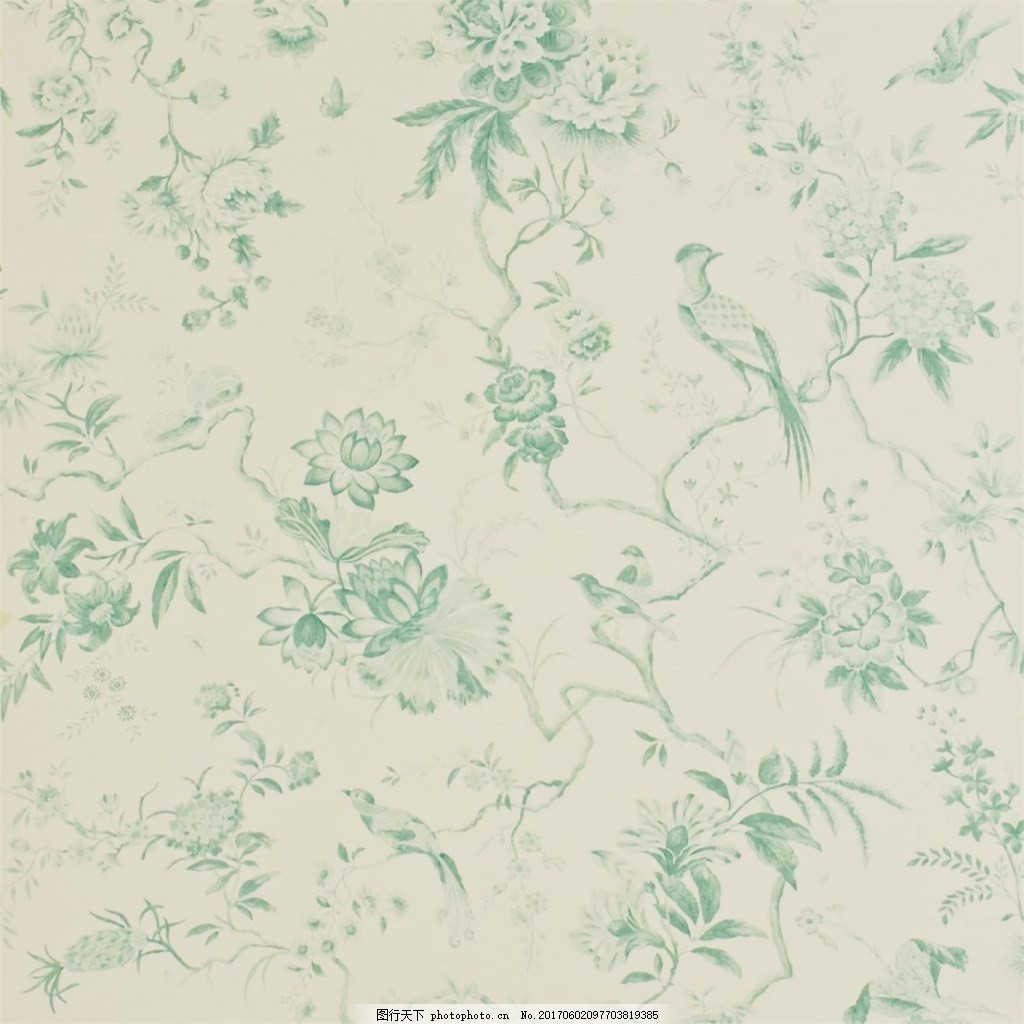 浅青色花朵图案壁纸 中式花纹背景 壁纸素材 无缝壁纸素材 欧式花纹