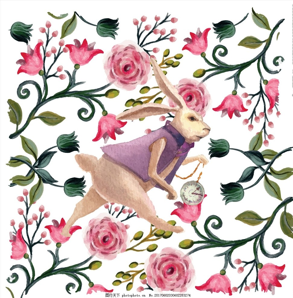 植物花朵花卉大白兔矢量图 男装设计 女装设计 童装设计 服装图案 箱包图案 箱包印花 男装印花 女装印花 童装印花 潮流服装印花 潮牌设计 面料印花 布料印花 卡通兔子 小兔子 大白兔 植物花卉 花朵花卉 绿叶 树叶 植物花朵花卉 怀表 兔子怀表 爱丽丝梦游 精品矢量图案 设计 广告设计 服装设计 CDR