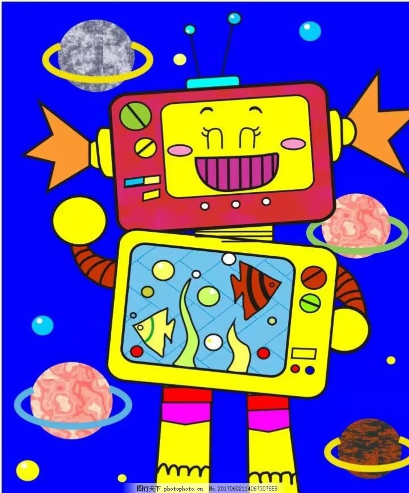 卡通画机器人 卡通画 机器人 电脑绘画 儿童画 科幻画 设计 动漫动画-
