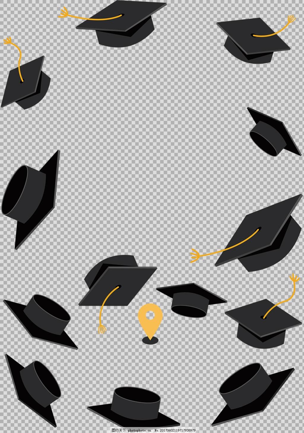 手绘各种毕业帽免抠png透明图层素材 毕业季海报设计 毕业季创意设计