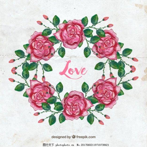 水彩 花 爱 手 装饰 树叶 自然 水彩花 花圈 春天 玫瑰 植物 花卉装饰