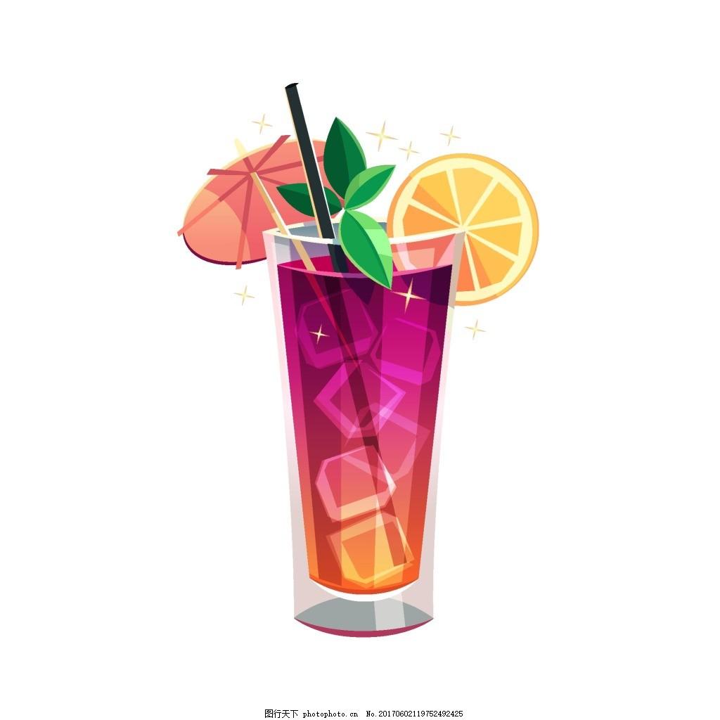 手绘冰块果汁元素