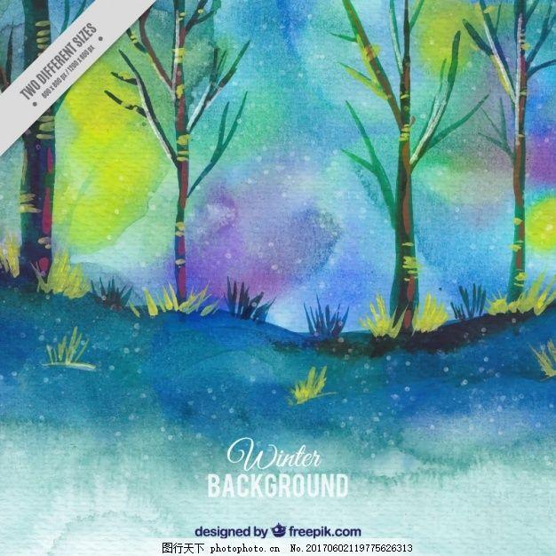 水彩画的森林背景