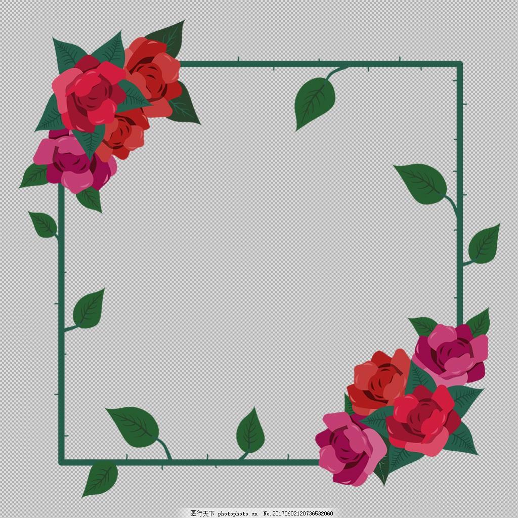 红色花卉边框免抠png透明图层素材 淘宝边框花边 花纹素材 欧式花纹元