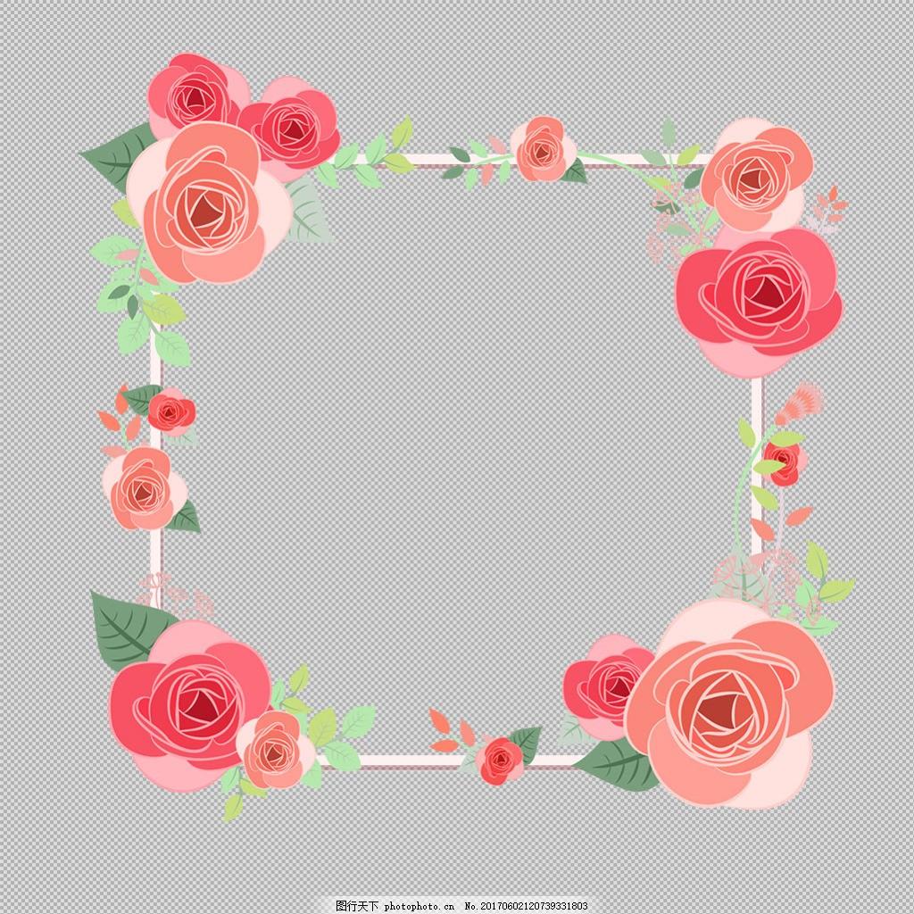 红玫瑰花卉边框免抠png透明图层素材 淘宝边框花边 花纹素材 欧式花纹
