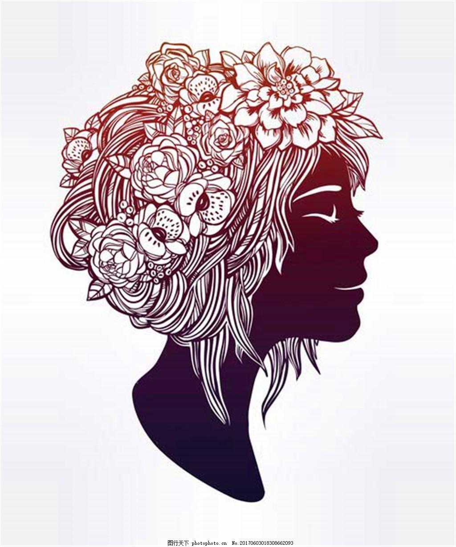 头戴花朵的女孩 头戴鲜花的美女图片素材 兰花 时尚女性 性感美女