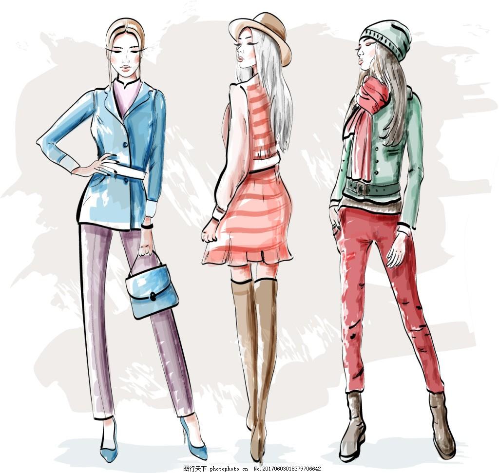 手绘时尚人物 模特 水彩 美女 时装