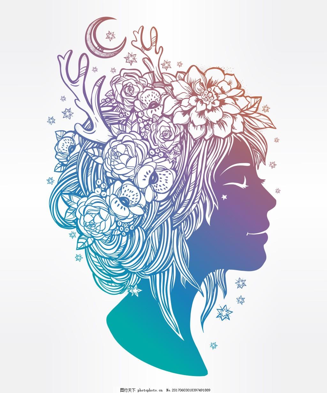 创意人物头像 手绘 角 月亮 星星 花朵 侧面      人物