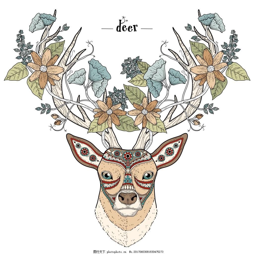 艺术麋鹿头像 植物 花朵 手绘 创意 动物