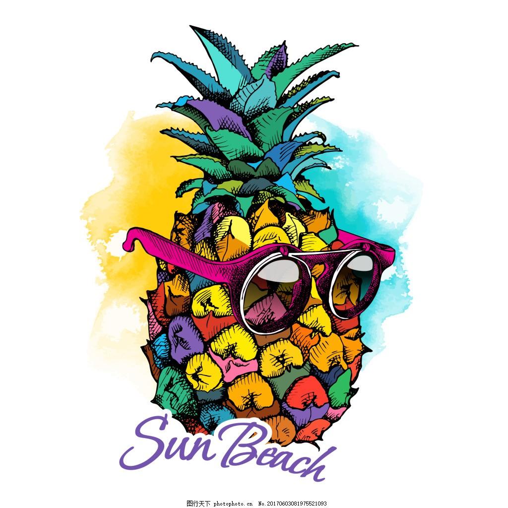 创意戴墨镜的菠萝插画 彩色 手绘 水果 时尚